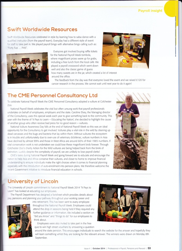 CME Featured in CIPP Magazine for National Payroll Week 2014